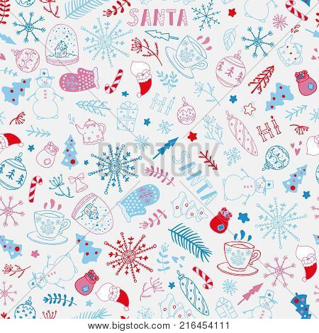 Seamless christmas pattern with Santa Claus, snow globe, candy cane, fir-tree, snoflakes, gift boxes, gloves etc. Stock vector