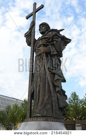 A tall statue of St. Vladimir