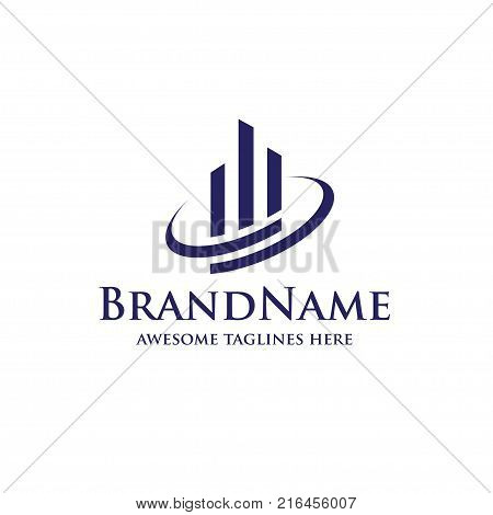 Real estate logo concept illustration,Building logo in classic graphic style, Citysearch logo, Abstract vector logo of buildings, Skyscrapers logo, Vector logo template, Design element
