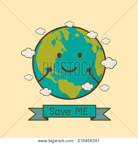 Earth Day April 22 with globe cute character.Earth Day campaign idea concept.Earth Day idea campaign for greeting Card Poster Flyer Cover Brochure Abstract background.Vector illustration