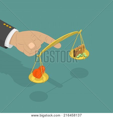 Life balance flat isometric vector. Big hand is holding scales on its forefinger. Scales contains a heart from one side and the suitcase from other one. Concept of work and personal life balance.