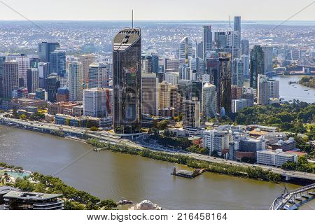 BRISBANE, AUSTRALIA - AUGUST 1 2017: Aerial view of Brisbane CBD with 1 William Street building, view from Southbank side.