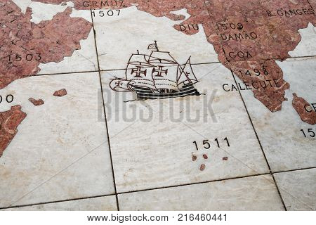 LISBON PORTUGAL - NOVEMBER 12 2017: Part of marble wind rose of Belem in Lisbon. Portugal