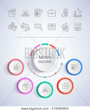 Money income e-commerce web buttons business solution presentation with icons of income statistics and market analysis on gray background vector