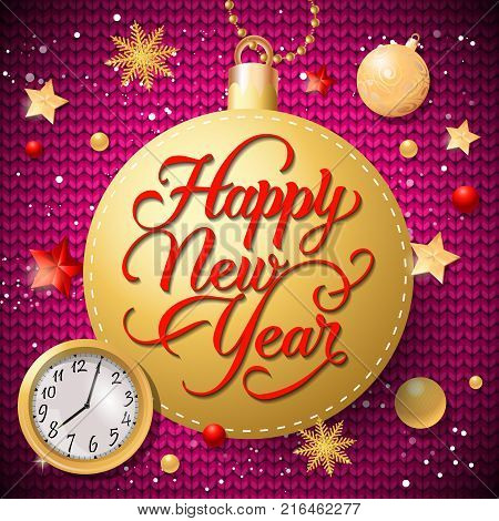 Happy New Year lettering on gold ball-shaped tag with baubles and watch. Calligraphic inscription can be used for greeting cards, festive design, posters, banners.