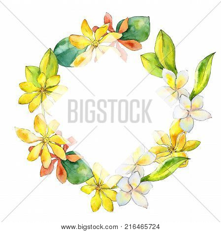 Wildflower gardenia flower wreath in a watercolor style. Full name of the plant: gardenia. Aquarelle wild flower for background, texture, wrapper pattern, frame or border.