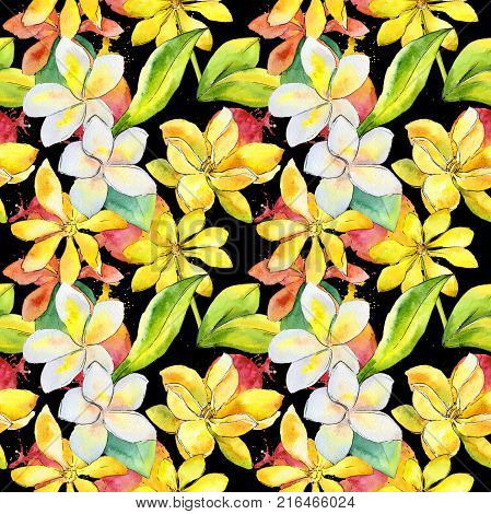 Wildflower gardenia flower pattern in a watercolor style. Full name of the plant: gardenia. Aquarelle wild flower for background, texture, wrapper pattern, frame or border.
