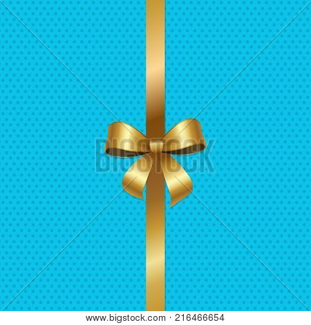 Tied gold bow with ribbon in center of vector illustration isolated on blue background with dots. Decorative element for wrapping paper, gift card