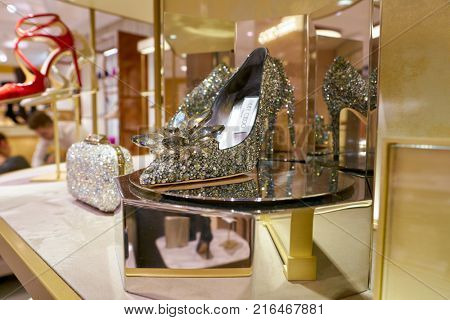 ROME, ITALY - CIRCA NOVEMBER, 2017: Jimmy Choo Cinderella Edit shoes on display at a second flagship store of Rinascente in Rome.