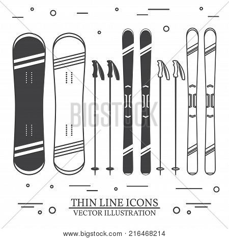 Set of skiing equipment silhouette icons. Set include snowboard, skis and ski poles . Winter equipment icons for family vacation, activity or travel. For logo design, patches, seal, logo or badges. Thin line icon.