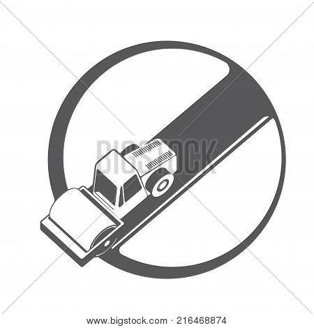 Illustration depicting an asphalt compactor in the form of a symbol or logo