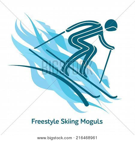 Freestyle Skiing Moguls icon. Sport species of events in 2018. Winter sports games icons, vector pictograms for web, print and other projects. Vector illustration isolated on a white background