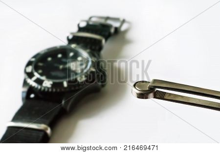Macro Of Replacing A Watch Battery