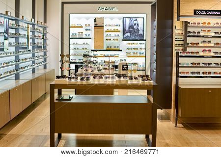 ROME, ITALY - CIRCA NOVEMBER, 2017: sunglasses sit on display at a second flagship store of Rinascente in Rome.