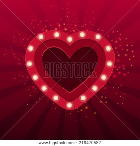 Red heart with bulbs. Show, confession, sparkle, surprise. Valentines day concept. Can be used for greeting cards, posters, leaflets and brochure
