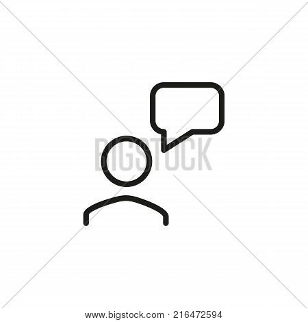Icon of talking person. Chart, monologue, forum. Social media concept. Can be used for topics like communication, information, technical support