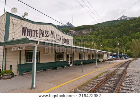 Historical train station in Skagway Alaska. This railroad was built during the Klondike Gold Rush and is now used for tourist excursions.