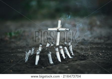 Symbolic Grave Of Tobacco And A Cross Of Cigarettes