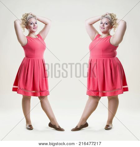 After before loss weight concept happy plus size fashion model sexy fat and slim woman on beige studio background full length portrait
