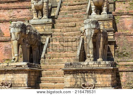 Details Of The Nyatapola Temple In Bhaktapur
