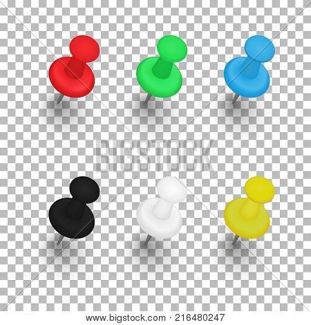Set of push pins with shadows on transparent background. Vector illustration