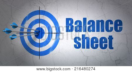 Success money concept: arrows hitting the center of target, Blue Balance Sheet on wall background, 3D rendering