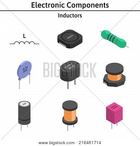 Vector set of izometric electronic components. Collection of inductors.