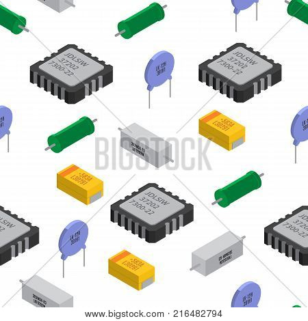 Vector seamless pattern of izometric electronic components. Collection of capacitors, resistors, diodes, transistors, inductors, microchips