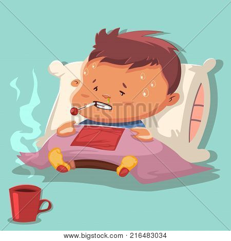 Flu cartoon vector illustration with a sick child character on a pillow and covered with a blanket with runny nose and a thermometer in the mouth with a high fever and hot chicken broth in a mug.