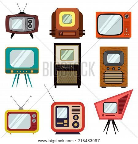 Television vintage colorful set. Vector retro flat TV icons isolated on white background.