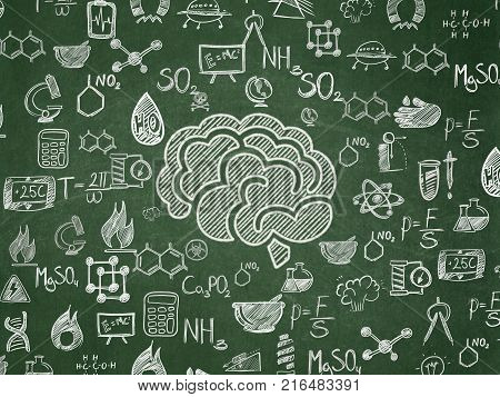 Science concept: Chalk White Brain icon on School board background with  Hand Drawn Science Icons, School Board