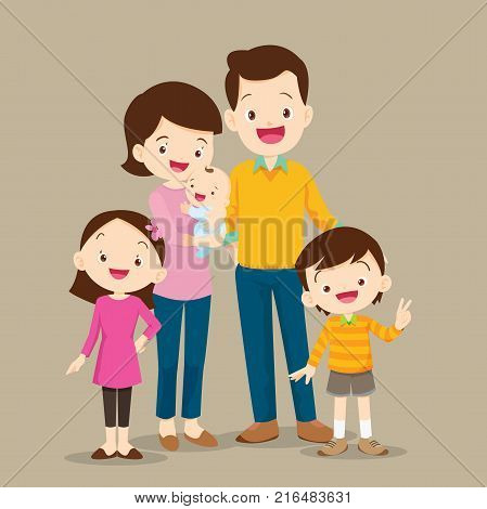 Cute family visiting the doctor. Vector illustration of a dad mom daughterson and baby meet the doctor.