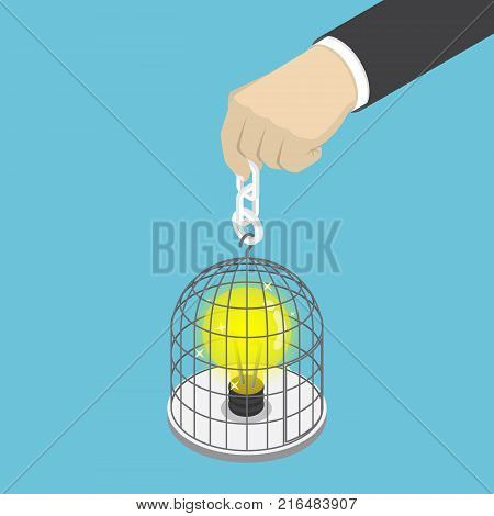 Flat 3d isometric businessman hand holding birdcage with light bulb of idea inside. Idea concept.