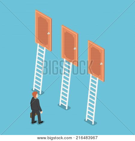 Flat 3d isometric businessman standing in front of three doors. Business choice and decision concept.