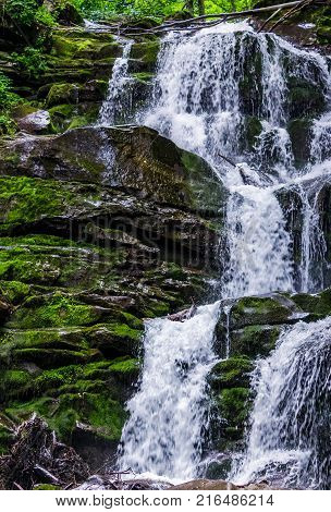 Great Waterfall Shypit In Carpathian Mountains