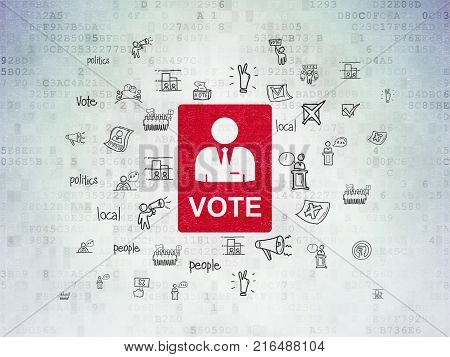 Political concept: Painted red Ballot icon on Digital Data Paper background with  Hand Drawn Politics Icons