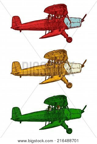 Vector Drawing Of Airplane Stylized As Engraving