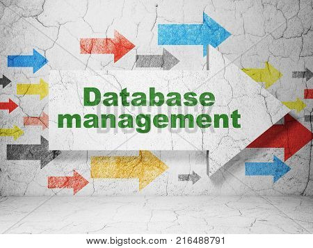 Database concept:  arrow with Database Management on grunge textured concrete wall background, 3D rendering