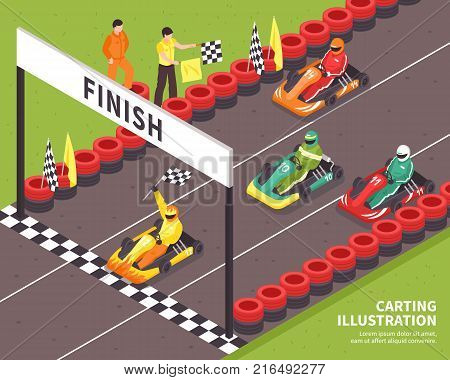 Isometric carting composition with view of outdoor race course and racing drivers riding carts with text vector illustration