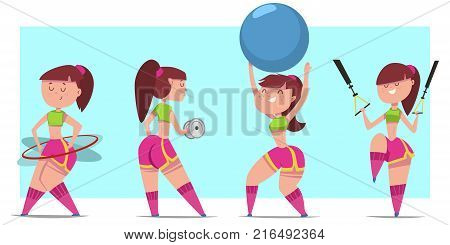 Woman doing fitness exercises with dumbbells fit ball hula hoop and suspension training. Cute cartoon girl vector character set isolated on a background. Healthy lifestyle and sport illustration.