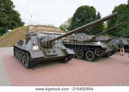 Brest, Belarus - September 25, 2016: SU-100 Soviet self-propelled artillery unit class Tank Destroyer on the territory of Brest Fortress