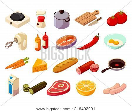 Food cooking set of isometric icons with kitchenware, culinary equipment, meat, fish and vegetables isolated vector illustration
