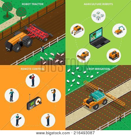 Agriculture robot modern technology isometric 2x2 design concept with images of android driven agrimotors with text vector illustration