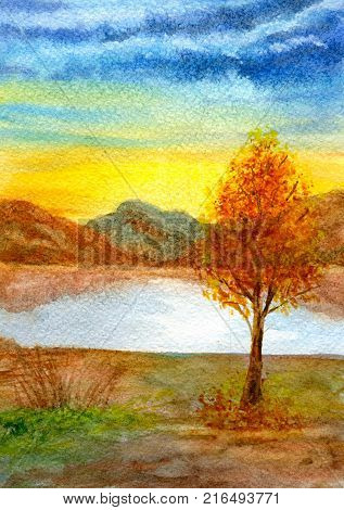 Autumn landscape, a tree by the lake against the background of the mountains and the setting sun. Hand-painted watercolor illustration and paper texture