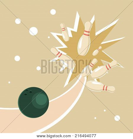 A ball in a bowling alley and knock strike concept. Vector illustration eps 10