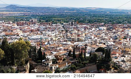 Panorama of Granada from the Alhambra, Spain