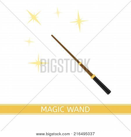 Vector illustration of magic wand with sparkles isolated on white background in flat style.