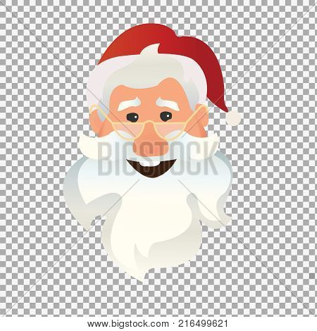 Santa Claus character emotions on transparent background. Happy and laughing Santa Claus character. -stock vector