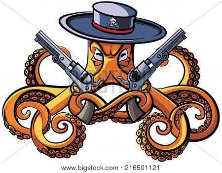 Vector colourful illustration of octopus in the broad-brim with two handguns in his tentacles isolated on white background. File doesn't contains gradients blends transparency and strokes or other special visual effects. You can open this file with any ve