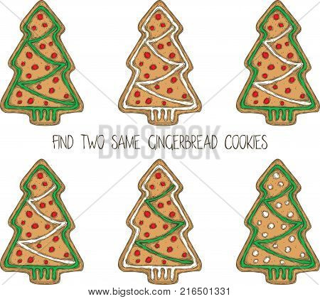 Christmas Game for Children. Find the Same Pictures. Gingerbread Christmas Tree Cookies